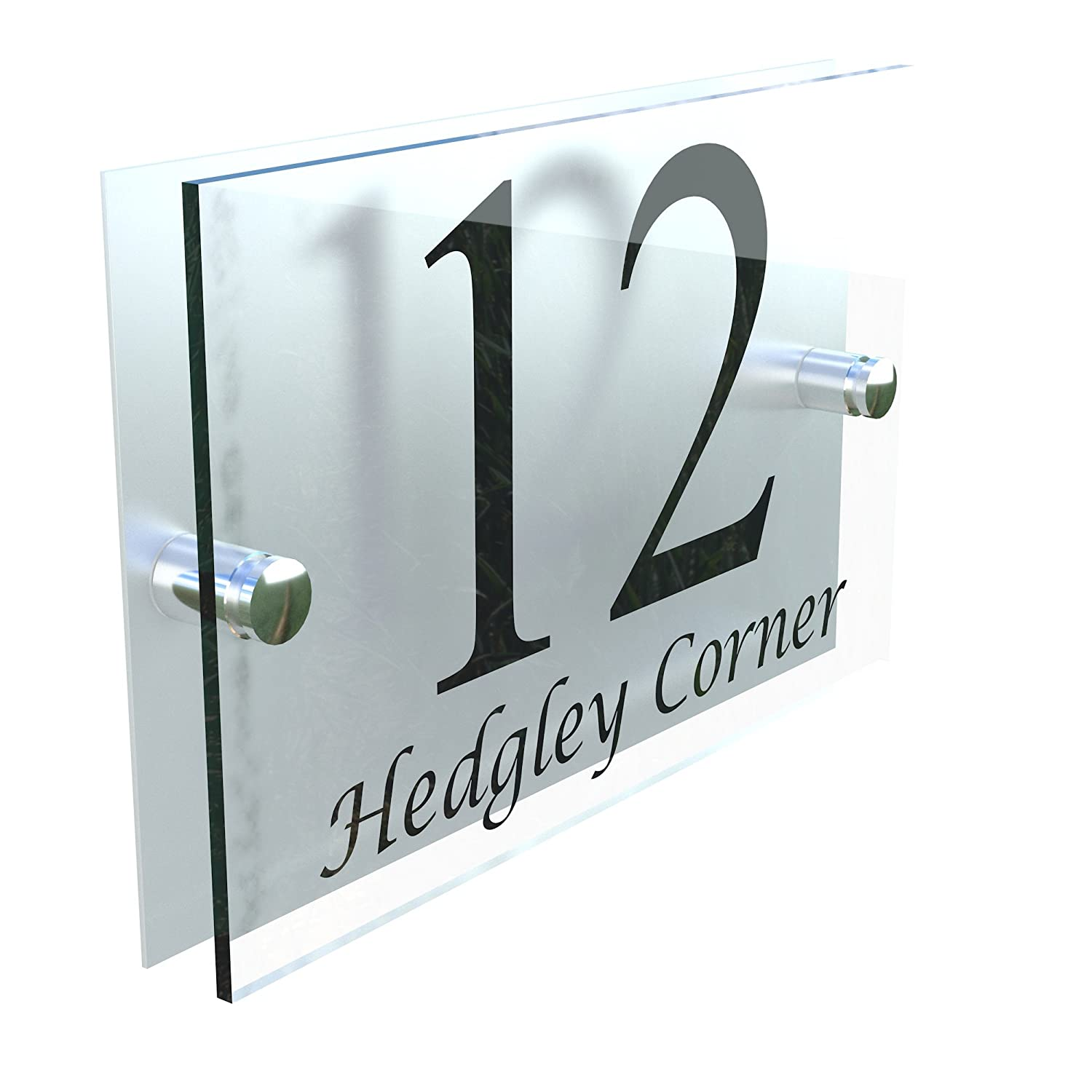House Sign Modern Glass Effect Acrylic Door Number Name Road Plate Plaque K Smart Sign Ltd