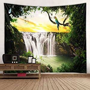 Summer Waterfall Tapestries, Lush Forest Jungle Waterfall Bird Nature Scenery Wall Art Tapestry Backdrop Fabric Bedroom Living Room Dorm Wall Hanging Blanket Tapestry Green White Yellow, 52 x 60