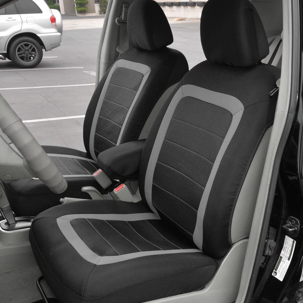 Front Seats Only BDK FreshMesh Car Seat Covers 2 Beige Front Seat Covers with Matching Headrest Cover Modern Sideless Design for Easy Installation Universal Fit for Car Truck Van and SUV
