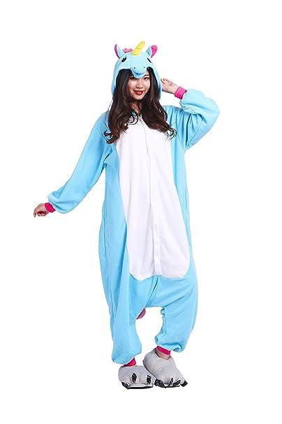 YUWELL Unicornio Kigurumi Cartoon Animal Navidad Cosplay Pijama Traje Disfraz de Halloween, Unicornio Azul S