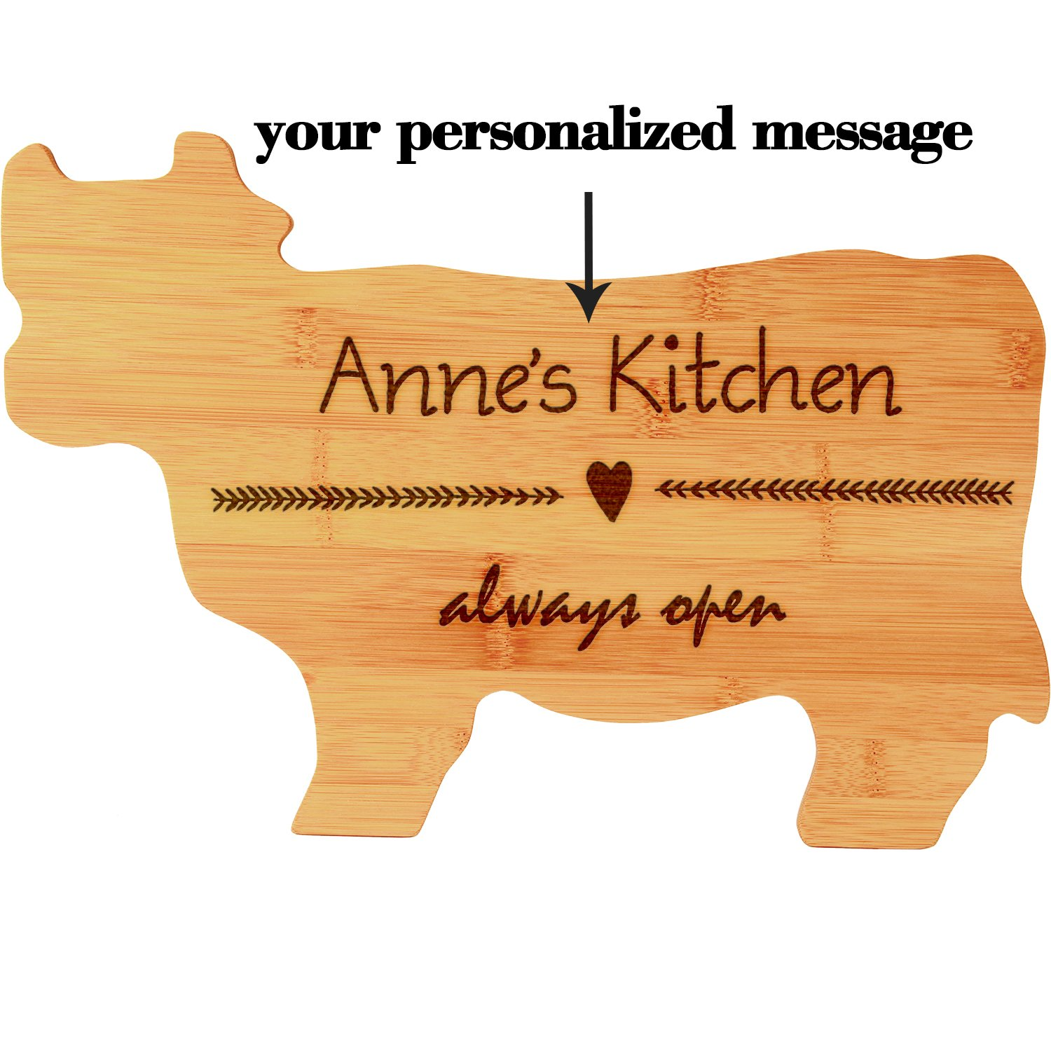 Custom Home Plaque, Cow Shaped Bamboo Cutting Board, Kitchen Decor, Personalized Last Name and Date