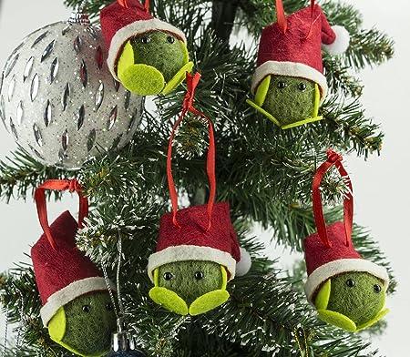 5PCS Mini Felt Christmas Tree Decorations Pack, With Santa Hats