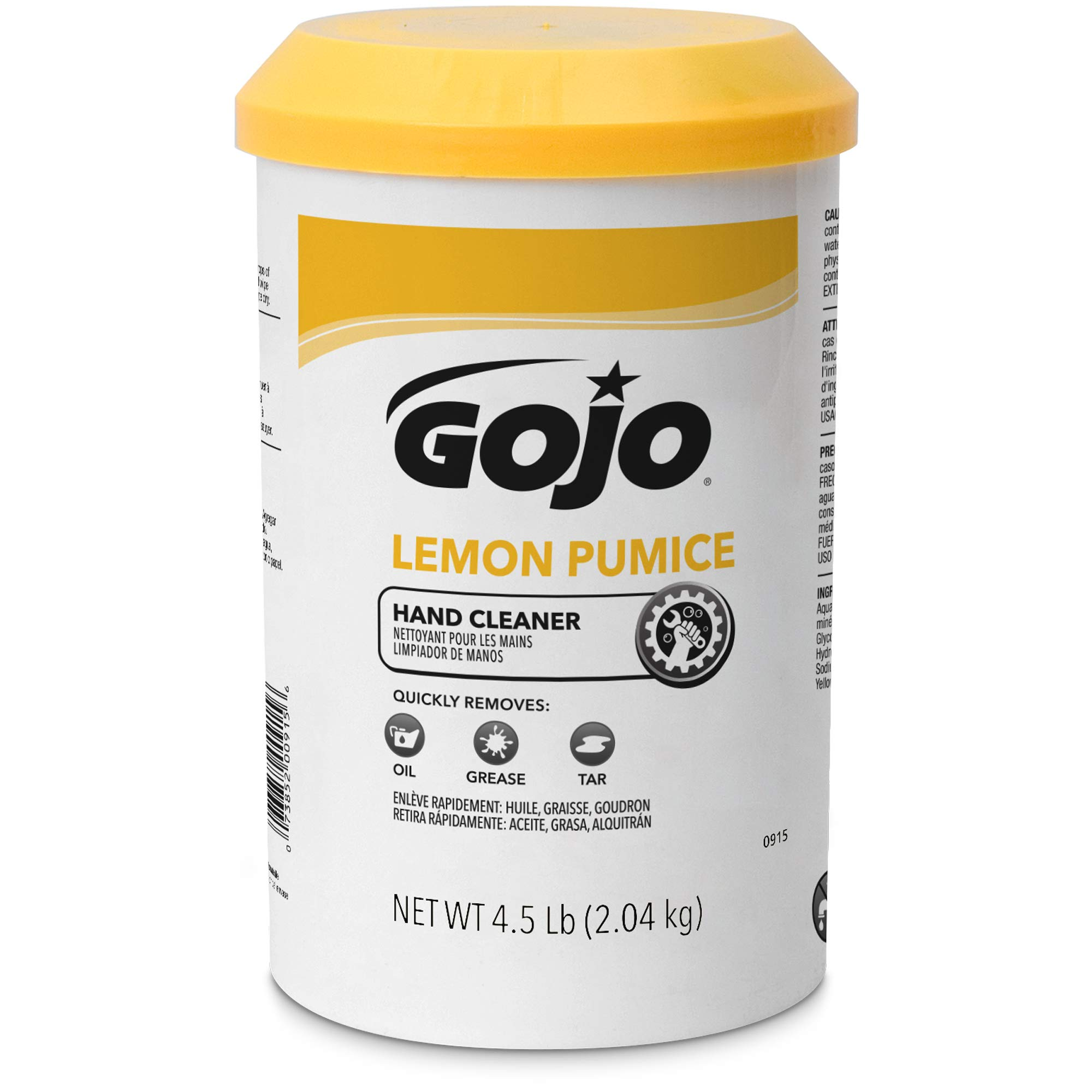 GOJO Crème-Style Hand Cleaner with Pumice, Lemon Scent, 4.5 Pounds Hand Cleaner Canister (Case of 6) - 0915-06 by Gojo (Image #3)