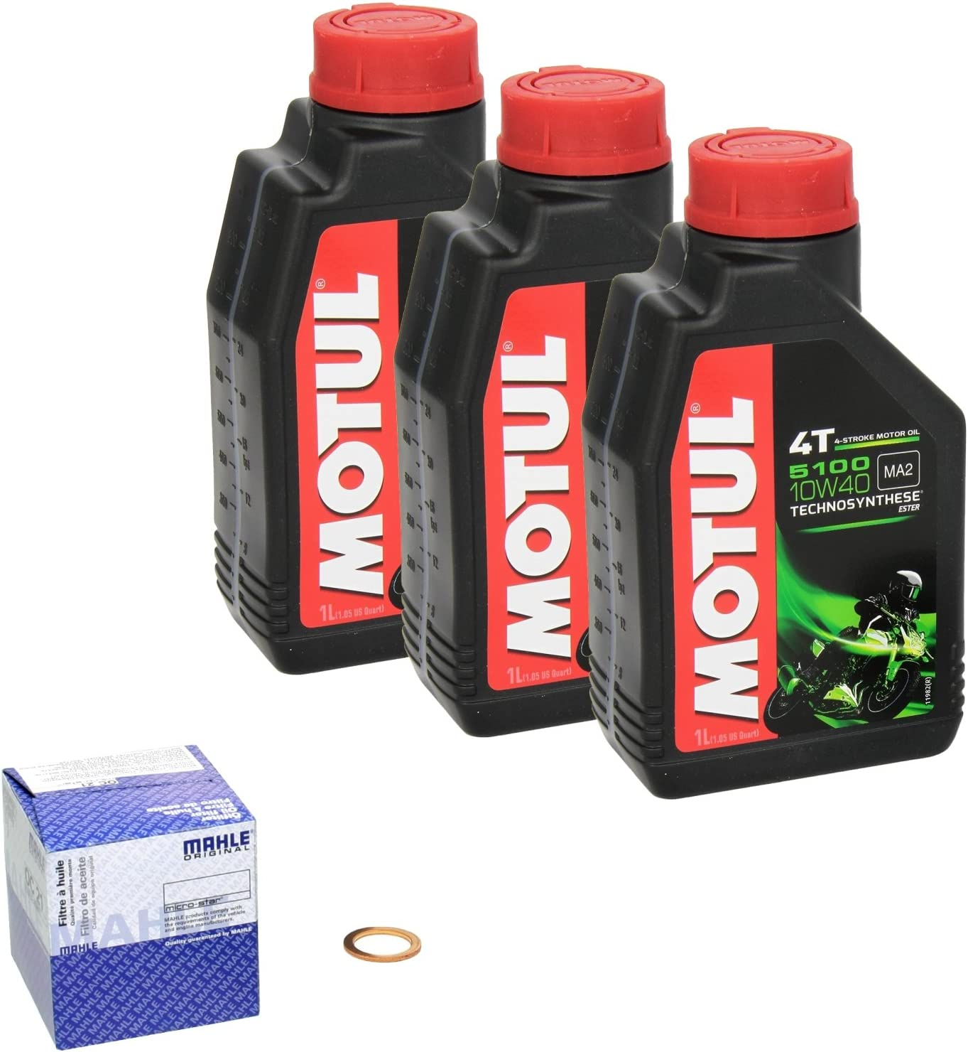 Motul 5100 10w 40 Ölwechsel Set Yamaha Yzf R6 Bj 06 07 Motoröl Mahle Ölfilter Und Dichtring Auto
