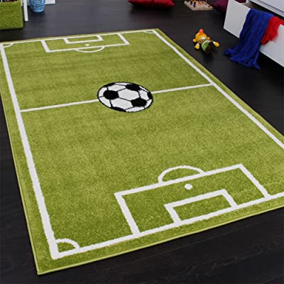 Paco Home Alfombra con diseño de Campo de fútbol, para niño, Verde y Blanca, 80 x 150 cm: Hogar