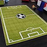 Paco Home, Tapis motif terrain de football, pour garçon, vert et blanc, 80x 150cm