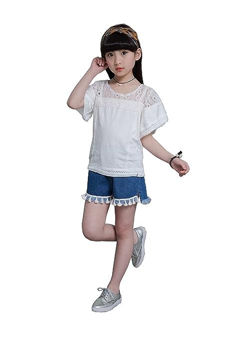 Los pantalones vaqueros coreanos de la blusa de las camisetas del verano de la muchacha del niño ponen en cortocircuito: Amazon.es: Ropa y accesorios