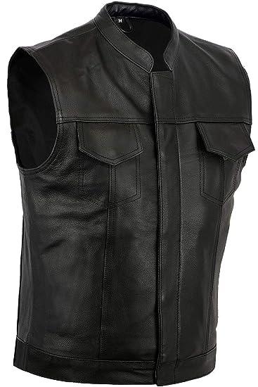100% authentic f33bd 691d6 Gilet da moto in pelle nera, modello per motociclisti