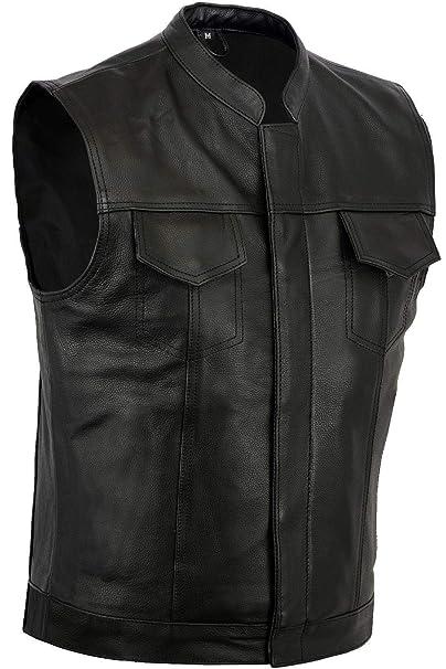 08792c5738 Gilet da moto in pelle nera, modello per motociclisti