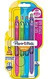 Paper Mate Inkjoy Stylo Gel, Pointe Moyenne, Couleurs Assorties Fun + Bonus, Lot de 4