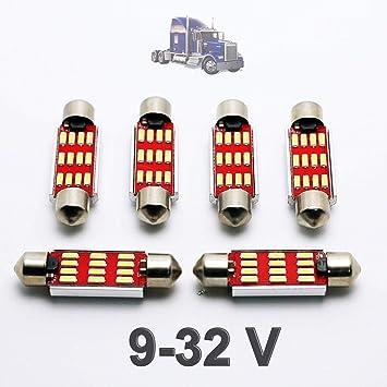G-V 6X Bombillas Camiones C5W 24V 41MM White 6000K LED Lamp Lorry Truck 41 42 Festoon