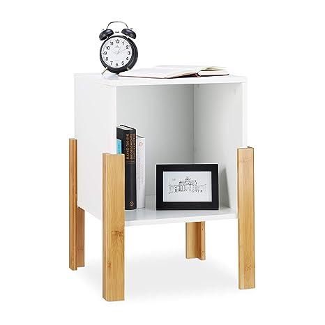 Relaxdays, Blanco, 60x43x43 cm Mesita de Noche de Diseño ...