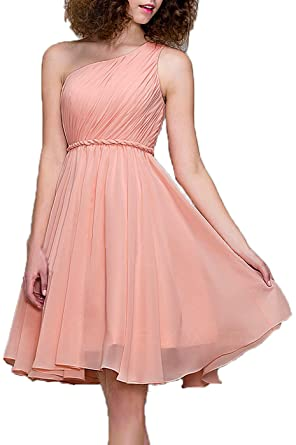 99Gown Bridesmaid Dresses Short Cocktail Dress One Shoulder Prom Formal Dresses For Women, Color Dusty