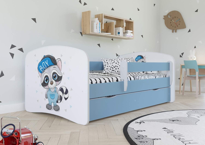 PANDA BOY - Cama infantil 80cm x 160cm con barrera de seguridad + somier + cajones y colchón gratis - Azul
