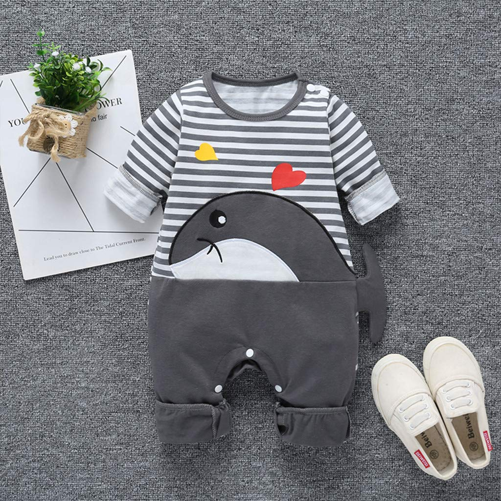 Ariestorm Infant Baby Boys Girls Romper Jumpsuit Long Sleeve Striped Cartoon Clothes