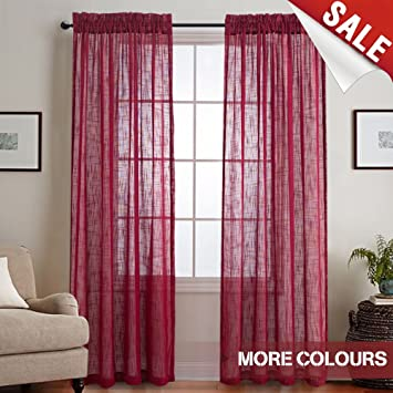 Amazon.com: Linen Look Burgundy Sheer Curtains for Living Room Rod ...