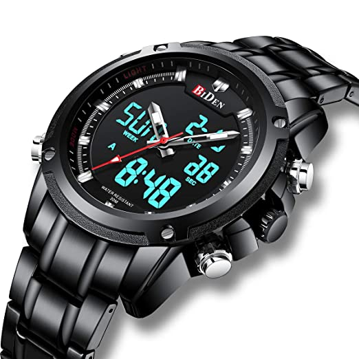 de6cdd58de5 Mens Analogue Digital Watches Men Chronograph Waterproof Sport Watch  Military Large Face LCD Back Light Alarm Day Date Stopwatch Multifunctional  Wrist ...