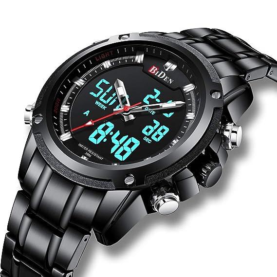 Relojes Digitales Analógicos para Hombres Reloj Cronógrafo Impermeable Deportivo Hombre Relojes de Pulsera Multifuncionales Acero Inoxidable Militar Gran ...