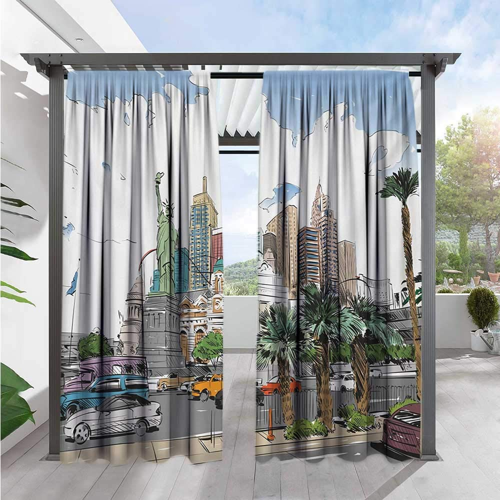 Bybyhome home patio outdoor curtain usa hand drawn las vegas city nevada street sketch buildings statue of liberty cars palms w120 xl84 suitable for front