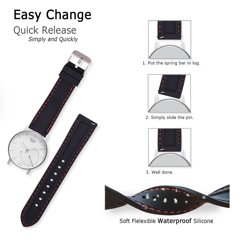 bb2aa4498 Vinband Correa Silicona Reloj Correa Suave Reemplazo de Banda de Acero  Inoxidable Hebilla - 18, 20, 22, 24 mm Correas de Cuero para Reloj (20mm,  ...