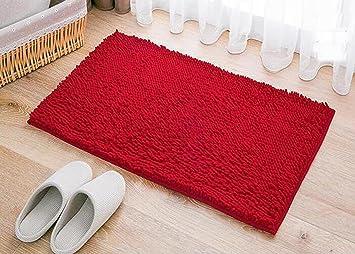 Amazon Com Mifxin 17 72 X 27 56 Inch Red Bath Mat Soft Shaggy