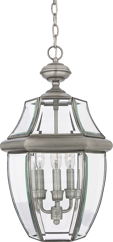 180 Watts Polished Brass 21H x 13W 3-Light Quoizel NY1179B Newbury Outdoor Pendant Lantern Ceiling Lighting