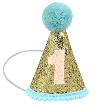 Asunflower Baby 1st Birthday Hats With Adjustable Headband Sparkle Party Crown Decoration For