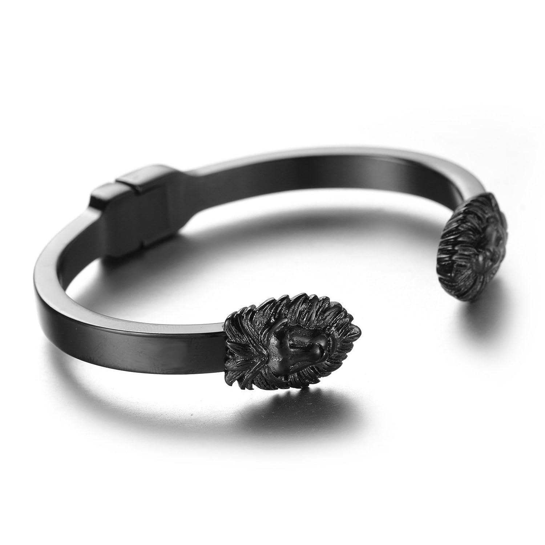 LAMUCH Fashion Animal Lion Stainless Steel Mens Bracelet Cuff Bangle