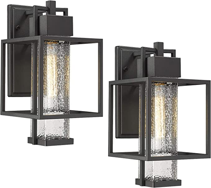 Osimir Outdoor Wall Sconce 2 Pack Farmhouse Style Exterior Wall Lantern In Black Finish With Bubble Glass Lamp Shade 15 Inch Modern Outdoor Lighting Fixtures 2375 1wl 2pk Amazon Com