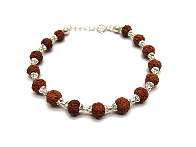 5a3f5080ed5 Image Unavailable. Image not available for. Colour: Kukshya Rudraksha with  92.5% Sterling Silver Flower Caps Adjustable Bracelet ...