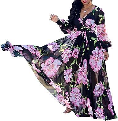 e8975a4c6 Image Unavailable. Image not available for. Color: Farktop Women's Floral  Summer Maxi Dresses Plus Size V Neck Wrap Long Chiffon Sundress with Belt