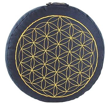 maylow – Yoga con corazón ® – Yoga Cojín – Cojín de meditación con bordado de