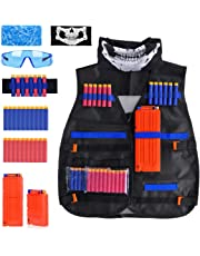 Kids Tactical Vest Kit for Nerf Guns N-Strike Elite Series, Adjustable Jacket Kit, with 20 Pcs Refill Darts, 2 Reload Clips, 2 Face Tube Mask, 1 Hand Wrist Band and Protective Glasses, Gift for Kid Toy Play or Outdoor Activities