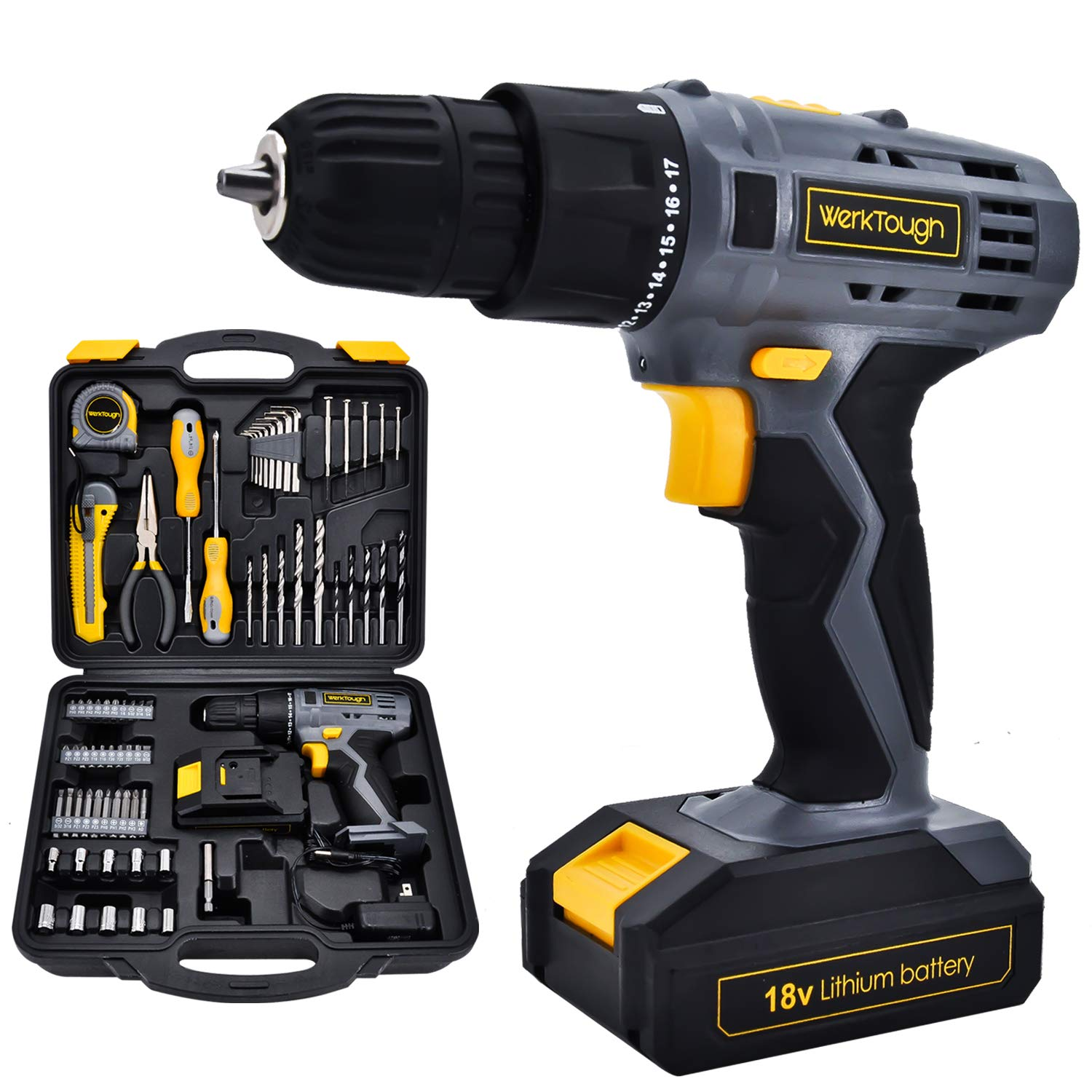 Power Tools Combo Kit With 18V Cordless Drill 77 Accessories Home Repair Kit Tool Set Cordless Project Kit