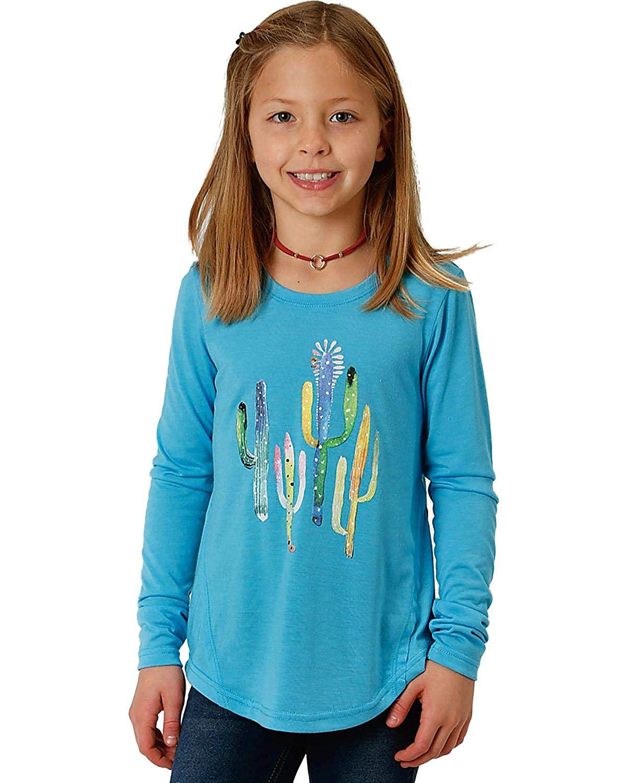 Roper Girls Turquoise Cactus Print Tee