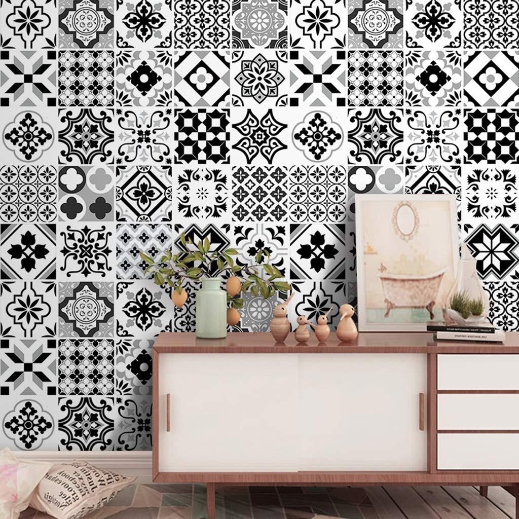 LJP Adesivi Per Piastrelle| Design Per Il Bagno Cucina - Carta Da Parati Semplice Decorazione Casa DIY (Colore : NERO)