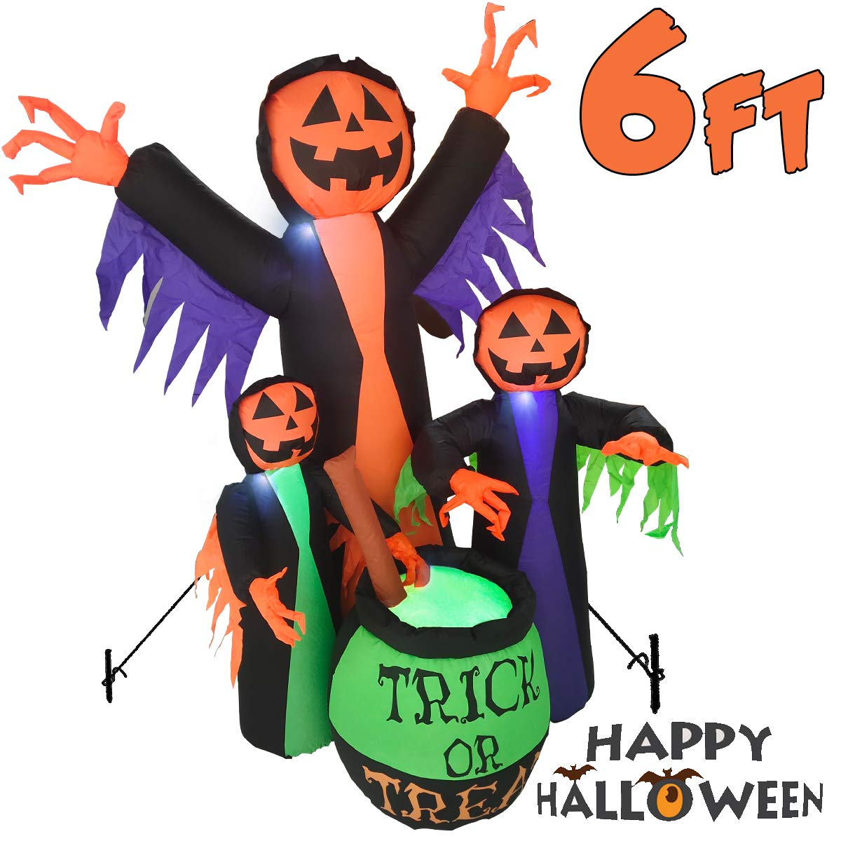 6FT Halloween Inflatable Model Decorations, Evil Witch Model LED Lights Suitable for Halloween Party Home Yard Garden Lawn Outdoor Indoor Holiday Inflatables Decor