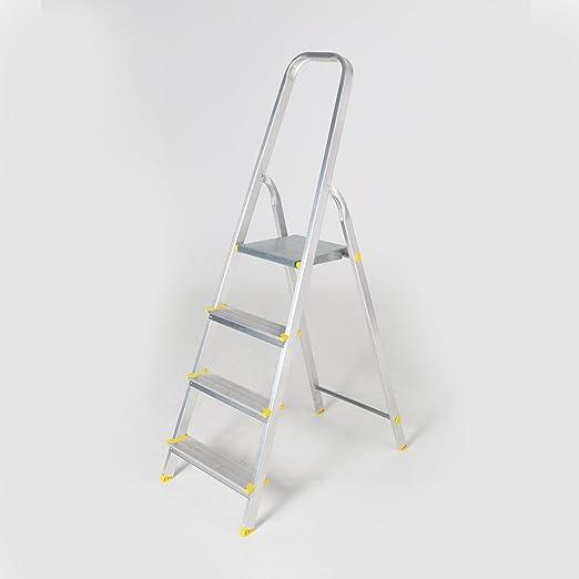 Escalera de 4 peldaños (aluminio escalera escalera plegable Escalera plegable: Amazon.es: Jardín