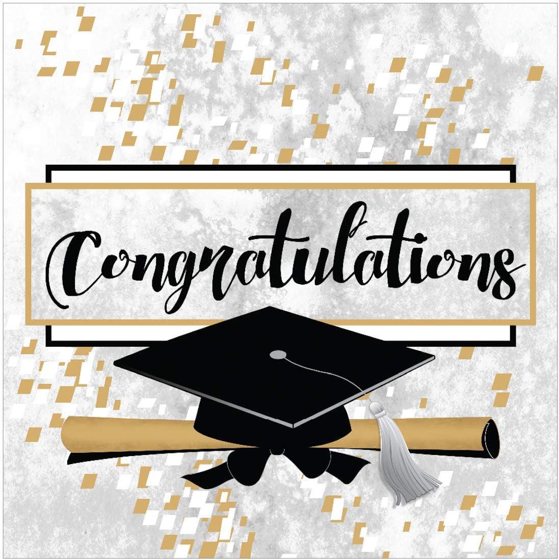 Iconikal Disposable Paper Dinner Party Napkins, Congratulations Graduate, 85-Count