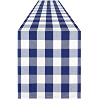 Syntus 14 x 108 inch Buffalo Check Table Runner Cotton-Polyester Blend Handmade Blue and White Plaid for Family Dinner…