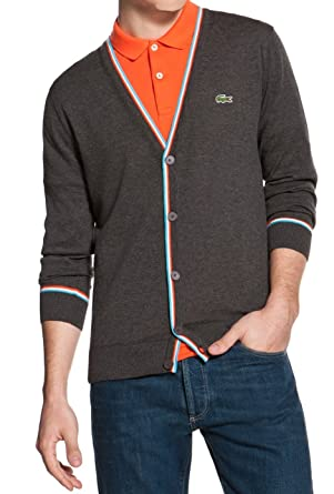 cheap price best wholesaler crazy price Lacoste Live Men's AH7712 Tipped Jersey Cardigan Granite (7 ...