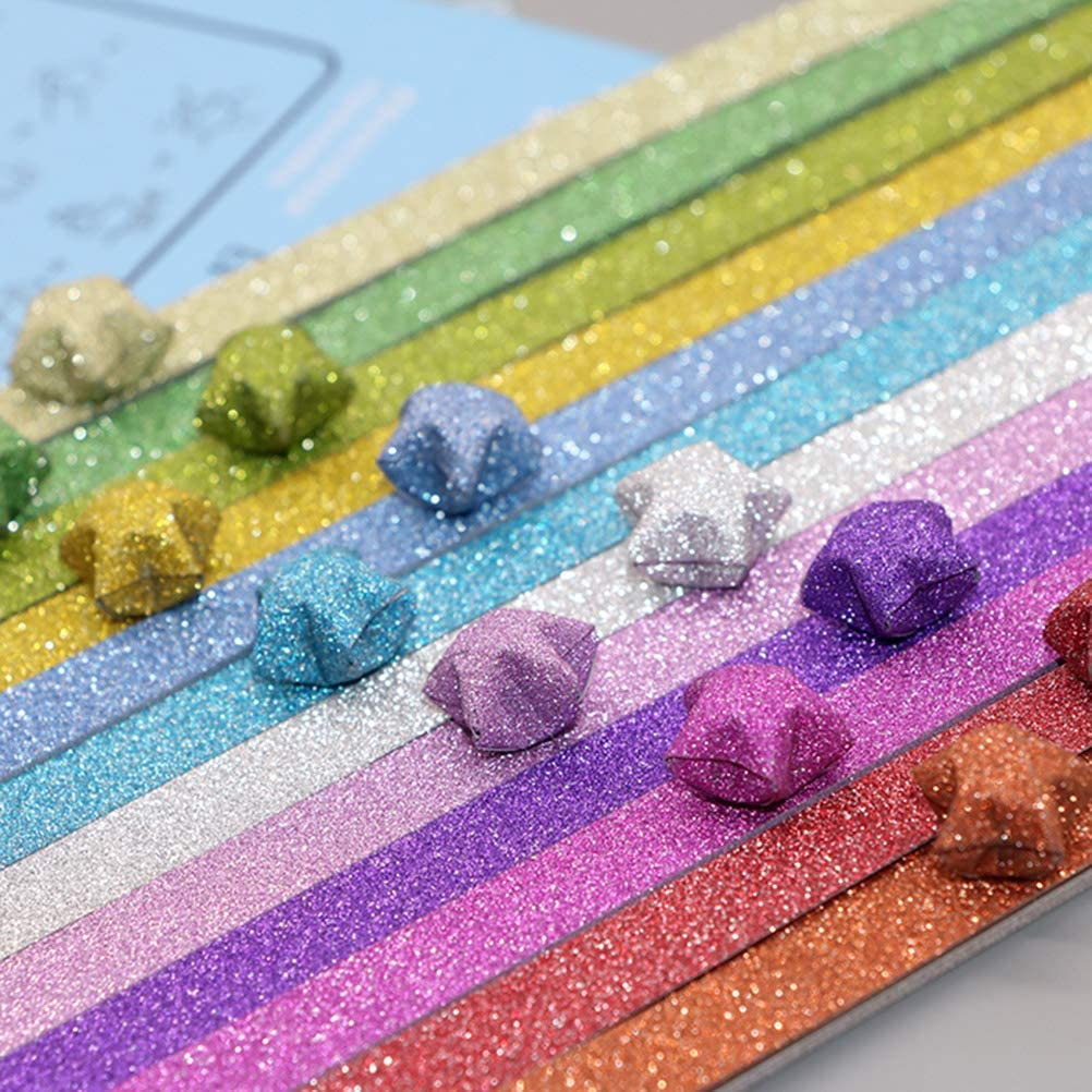 STOBOK 320pcs Glitter Origami Star Paper Strips Lucky Star Paper for DIY Craft Mixed Color