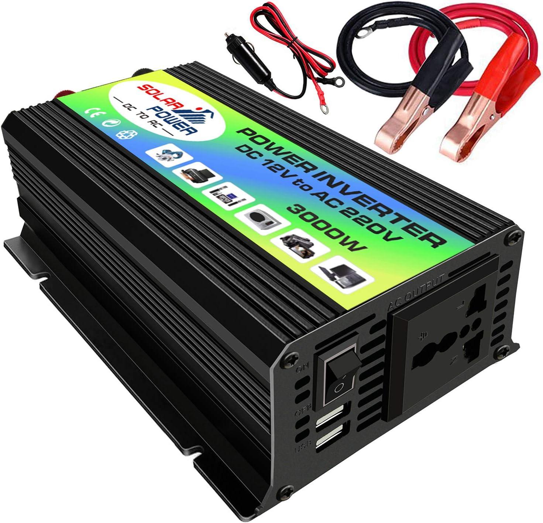 Galapar Inversor de Onda sinusoidal modificada Inversor de Corriente de Alta frecuencia Convertidor Inversor del Cargador de Corriente para automóvil con 2.1A Clips de batería