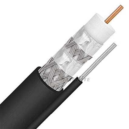 QUAD SHIELD UV PROTECTED OUTDOOR RG11 AERIAL MESSENGER COAXIAL CABLE w/ STRAPPING CABLE: POLE