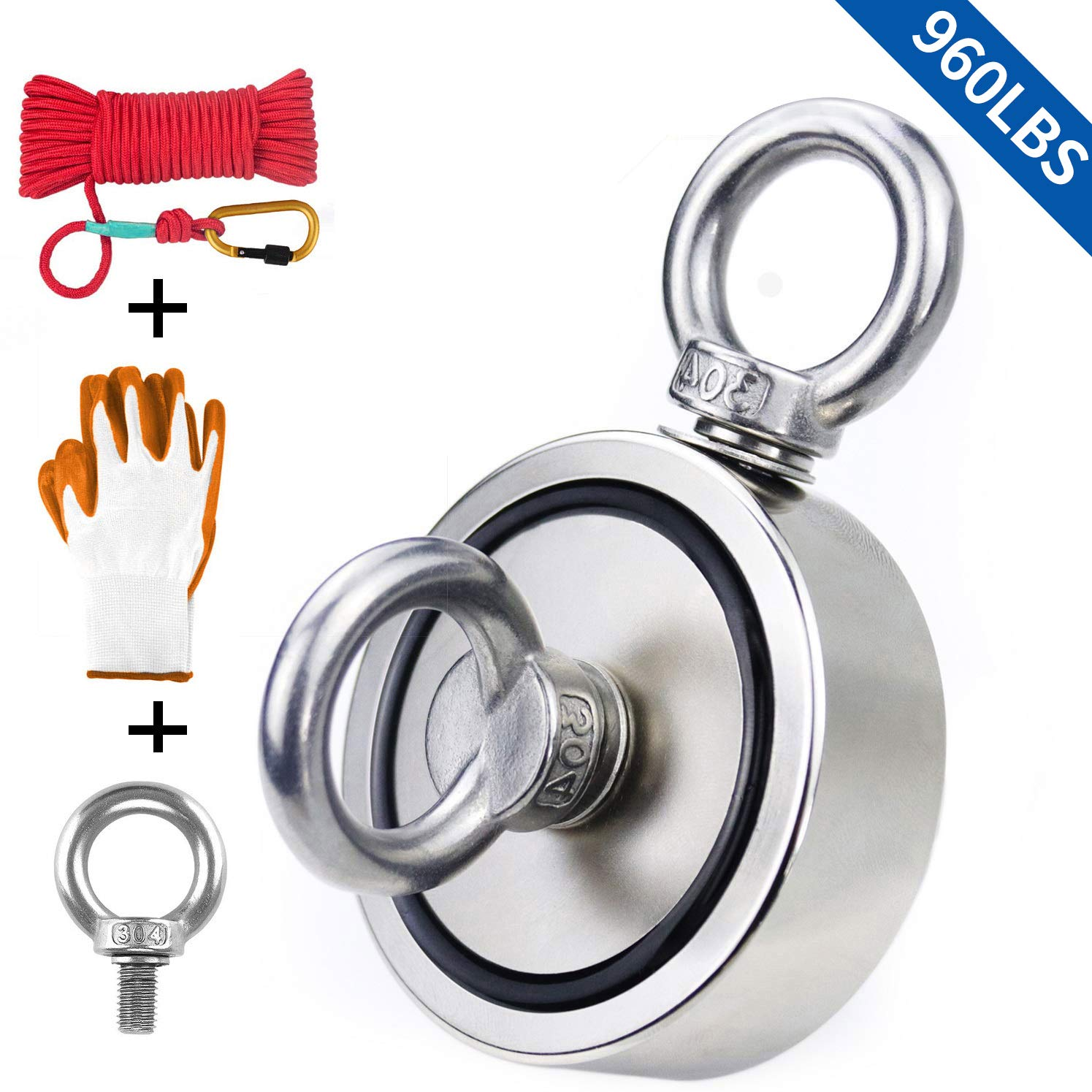 Fishing Magnet with Rope & Gloves, 960lbs Pulling Force Double Sided Super Strong Round Rare Earth Neodymium Magnet with Eyebolt for Magnetic Fishing, River, Lake, Salvage, 2.95'' Diameter by KYGNE