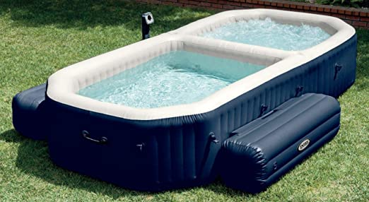 Intex PureSpa - Spa con piscina hinchable, 3.86 x 2.57 x 71 cm, 120 burbujas Spa, 150 burbujas piscina (28492): Amazon.es: Jardín