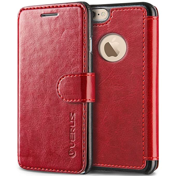timeless design cb150 1c8a3 VRS Design [Wine Red] Premium Leather Folio Case Flip Wallet Cover [Layered  Dandy] Classic Leather with 3 Card Slots Phone Case for Apple iPhone 6 ...