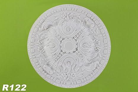 1 – Rosetón para el techo pared Poliuretano Interior Decoración Decoración antigolpes ø50 cm, R122
