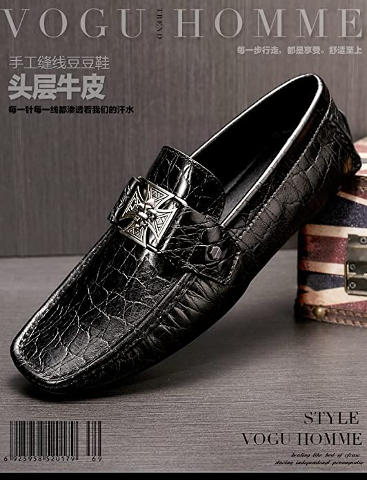 Amazon.com | Fashion Mens Leather Shoes Cross Buckle Moccasin Comfort Slip-on Driving Shoes Loafers Black | Loafers & Slip-Ons
