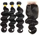ZILING Brazilian virgin hair body wave with lace closure human hair bundles with closure extensions hair
